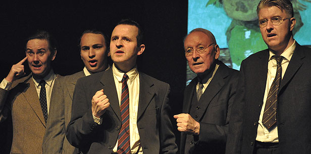 Chris Learmonth, Daniel Ryan, Paul Baker, Dan Armour and Martin Phillips in BLT's July production of The Pitmen Painters, directed by Pauline Armour