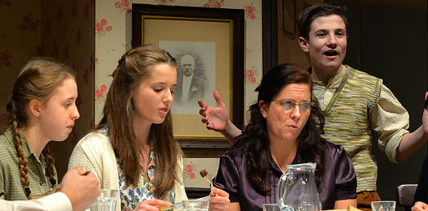 Imogen Rampton, Abigail Bailey, Fran McMenamin and Harrison North in BLT's January 2015 production of Brighton Beach Memoirs, directed by Arthur Rochester.